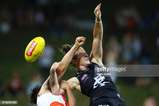 Lauren Brazzale of the Giants and Brianna Davey of the Blues compete for the ball during the round 20 AFLW match between the Greater Western Sydney...