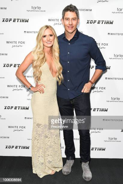 Lauren Burnham and Arie Luyendyk attend White Fox Boutique Swimwear Launch Of 100% Salty at Catch on July 26 2018 in West Hollywood California