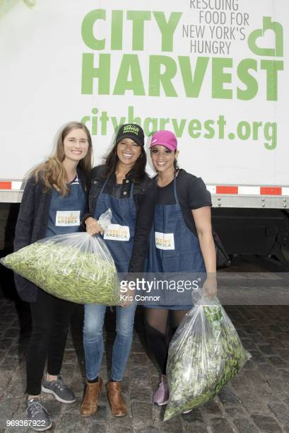 Lauren Bush Lauren Andrea Navedo and Dascha Polanco participate in the 'Feeding America's Celebrity Friends Join City Harvest At GrowNYC's Union...