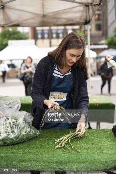 Lauren Bush Lauren participates in the 'Feeding America's Celebrity Friends Join City Harvest At GrowNYC's Union Square Greenmarket For Food Rescue'...