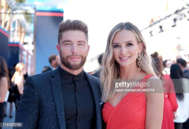 Lauren Bushnell and Chris Lane attend the 54th Academy Of Country Music Awards at MGM Grand Hotel Casino on April 07 2019 in Las Vegas Nevada