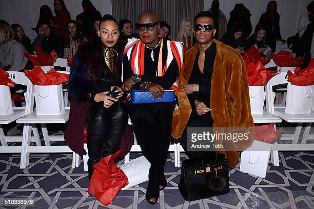 Lauren Carmen Joshua Johnson and Neiman Rose attend the PretAPorter Fall 2016 fashion show during New York Fashion Week at Affinia Hotel on February...