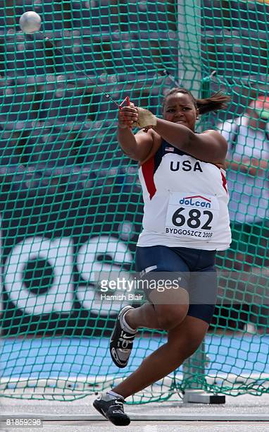 Lauren Chambers of USA in action during the women's hammer throw qualification during day one of the 12th IAAF World Junior Championships at the...