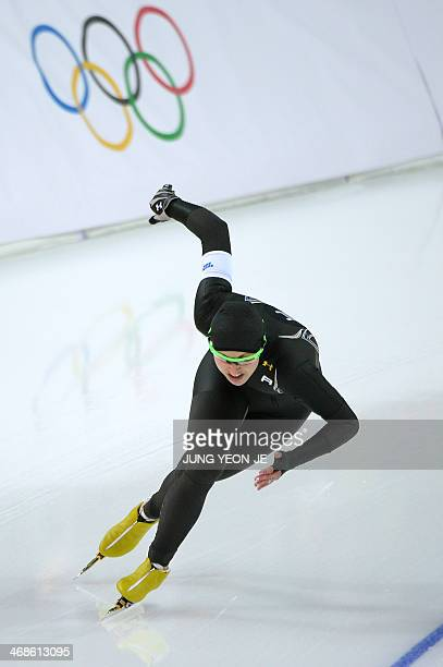 US Lauren Cholewinski competes during the Women's Speed Skating 500 m at the Adler Arena during the 2014 Sochi Winter Olympics on February 11 2014...