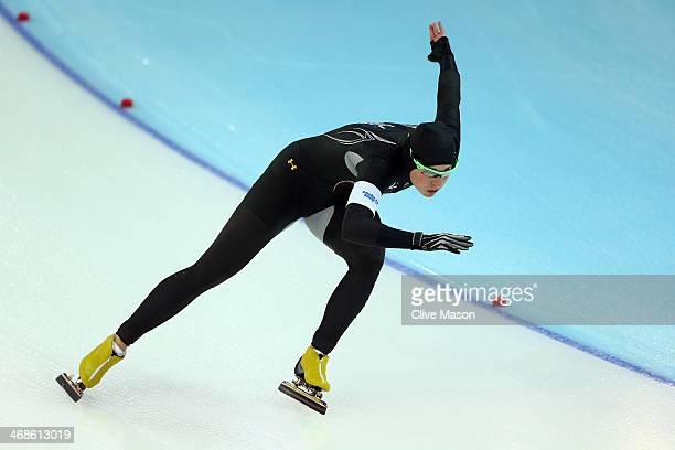 Lauren Cholewinski of the United States competes during the Women's 500m Race 1 of 2 Speed Skating event during day 4 of the Sochi 2014 Winter...