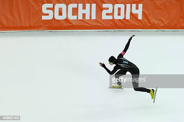 Lauren Cholewinski of the United States competes during the Women's 500m Speed Skating event during day 3 of the Sochi 2014 Winter Olympics at at...