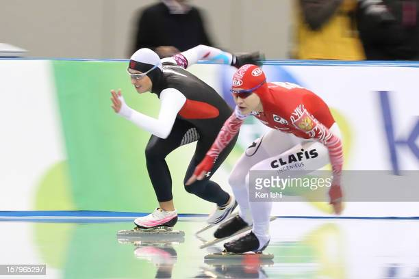 Lauren Cholewinski of USA and Yekaterina Malysheva of Russia compete in the Women's 500m during day one of the ISU World Cup Speed Skating at MWave...