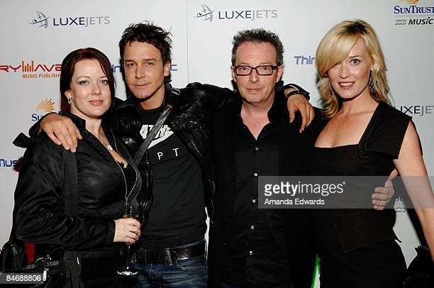 Lauren Christy David Jost Graham Edwards and Meagan Phistan attend the Primary Wave Music Publishing preGrammy party at SLS Hotel on February 7 2009...
