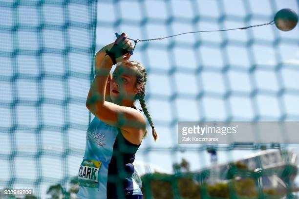 Lauren Clark of NSW competes in the Women's Under 20 Hammer throw Final during day four of the Australian Junior Athletics Championships at the...