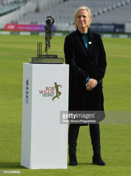 Lauren Clark stands next to the the Bob Willis Trophy after the match between Warwickshire and Lancashire at Lord's Cricket Ground on October 01,...