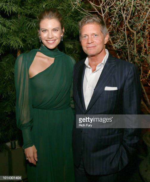 Lauren Cohan and Bob Simonds attend the after party for the premiere of STX Films' Mile 22 at Westwood Village Theatre on August 9 2018 in Westwood...