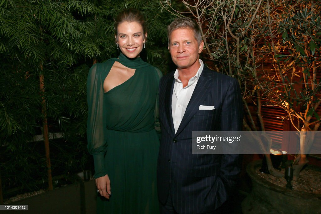 Lauren Cohan (L) and Bob Simonds attend the after party for the premiere of STX Films' 'Mile 22' at Westwood Village Theatre on August 9, 2018 in Westwood, California.