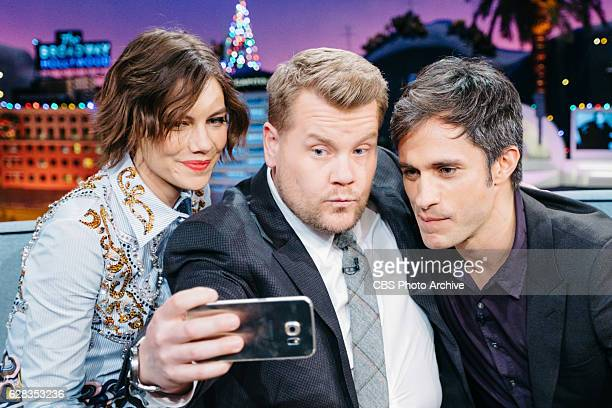 Lauren Cohan and Gael Garcia Bernal chat with James Corden during 'The Late Late Show with James Corden' Monday December 5 2016 On The CBS Television...