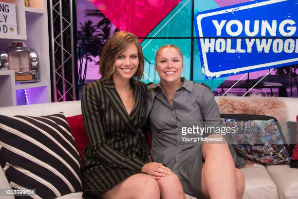 Lauren Cohan and Ronda Rousey visit the Young Hollywood Studio on July 27 2018 in Los Angeles California