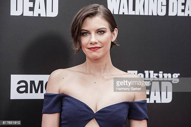 Lauren Cohan arrives at AMC presents live 90minute special edition of 'Talking Dead' at Hollywood Forever on October 23 2016 in Hollywood California