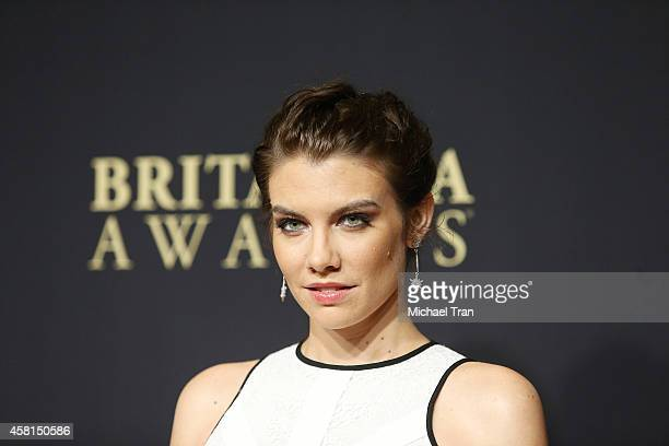 Lauren Cohan arrives at the BAFTA Los Angeles Jaguar Britannia Awards held at The Beverly Hilton Hotel on October 30, 2014 in Beverly Hills,...