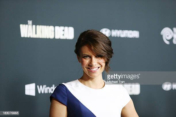 "Lauren Cohan arrives at the Los Angeles premiere of AMC's ""The Walking Dead"" 4th season held at Universal CityWalk on October 3, 2013 in Universal..."