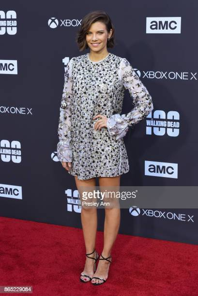 Lauren Cohan attends AMC Celebrates The 100th Episode Of 'The Walking Dead' Arrivals at The Greek Theatre on October 22 2017 in Los Angeles California