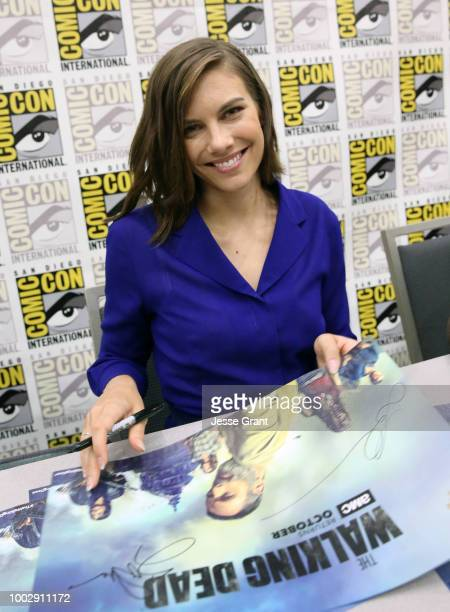 Lauren Cohan attends 'The Walking Dead' autograph signing with AMC during during Comic-Con International 2018 at San Diego Convention Center on July...