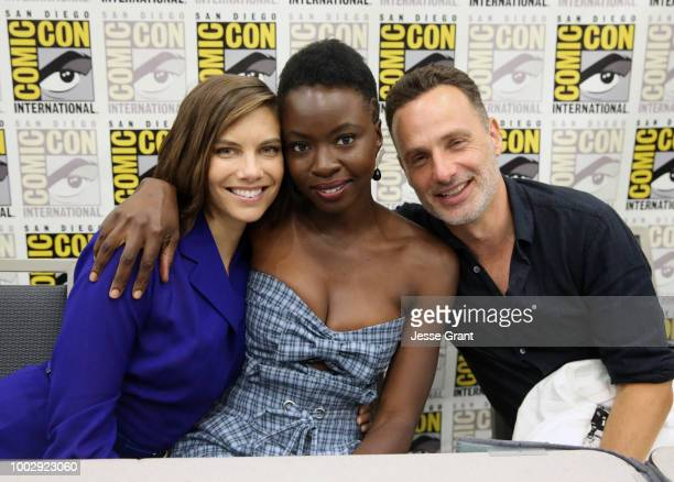 Lauren Cohan Danai Gurira and Andrew Lincoln attend 'The Walking Dead' autograph signing with AMC during during ComicCon International 2018 at San...