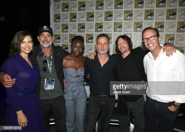 Lauren Cohan Jeffrey Dean Morgan Danai Gurira Andrew Lincoln Norman Reedus and AMC's Charlie Collier attend 'The Walking Dead' panel with AMC during...