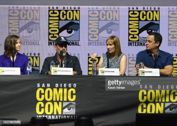 Lauren Cohan Jeffrey Dean Morgan Gale Anne Hurd and David Alpert speak onstage at AMC's The Walking Dead panel during ComicCon International 2018 at...