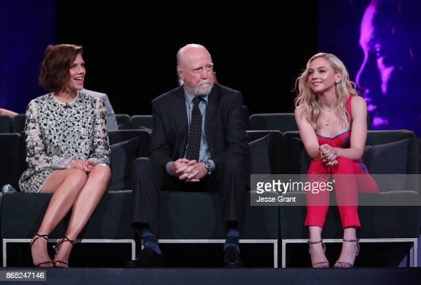Lauren Cohan Scott Wilson and Emily Kinney speak onstage at The Walking Dead 100th Episode Premiere and Party on October 22 2017 in Los Angeles...