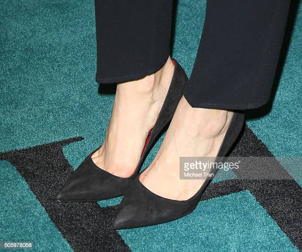 Lauren Cohan shoe detail arrives at the Los Angeles premiere of The Boy held at Cinemark Playa Vista on January 20 2016 in Los Angeles California