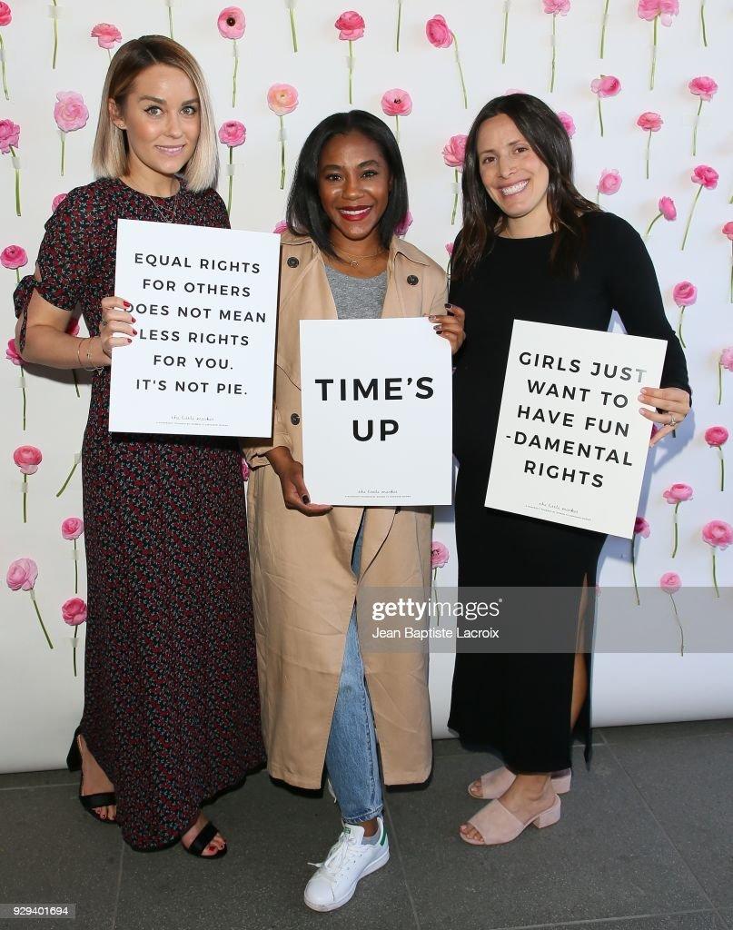 Lauren Conrad and Hannah Skvarla celebrate International Women's Dayon March 08, 2018 in Venice, California.
