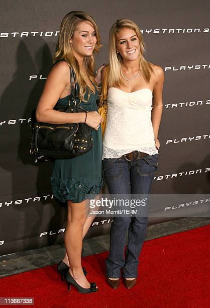 Lauren Conrad and Heidi Montag during PLAYSTATION 3 Launch Red Carpet at 9900 Wilshire Blvd in Los Angeles California United States
