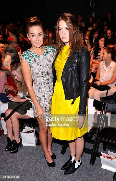 Lauren Conrad and Mandy Moore attend the Lela Rose Spring 2013 fashion show during MercedesBenz Fashion Week at The Studio at Lincoln Center on...