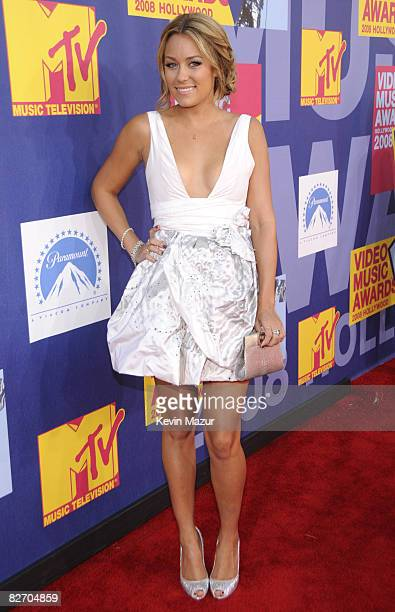 Lauren Conrad arrives on the red carpet of the 2008 MTV Video Music Awards at Paramount Pictures Studios on September 7 2008 in Los Angeles California