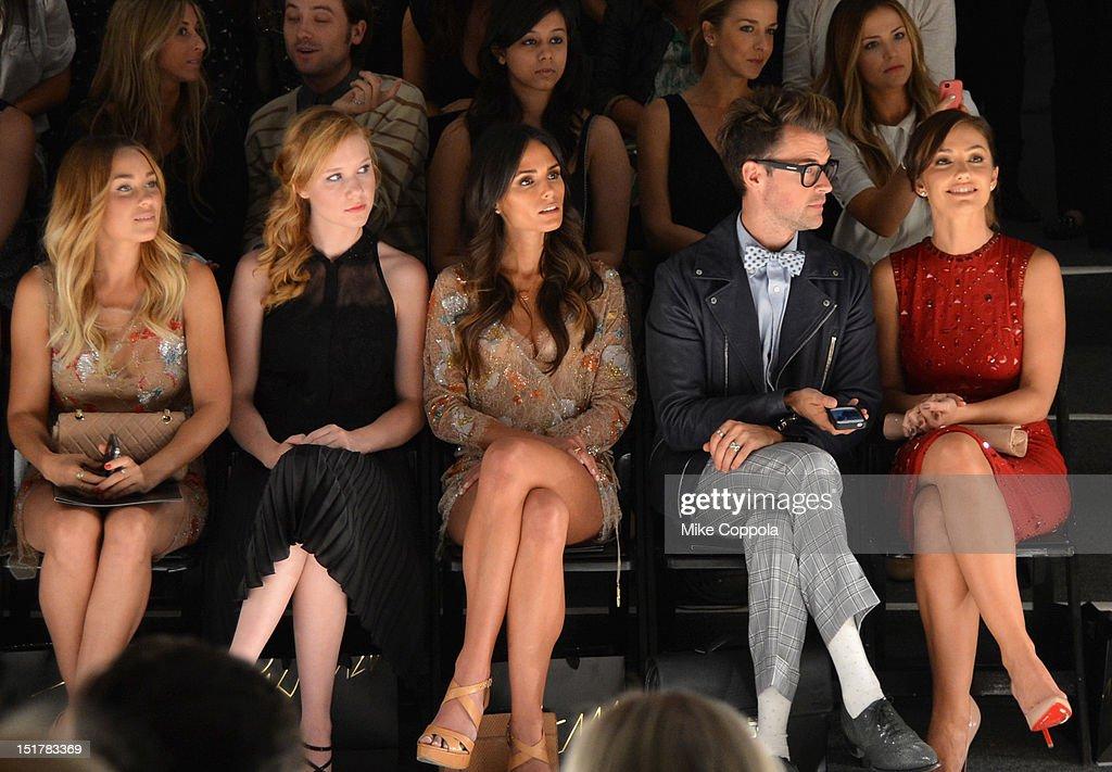 Lauren Conrad, Madisen Beaty, Jordana Brewster, Brad Goreski and Minka Kelly attend the Jenny Packham Runway Show during the Spring 2013 Mercedes-Benz Fashion Week at The Studio Lincoln Center on September 11, 2012 in New York City.
