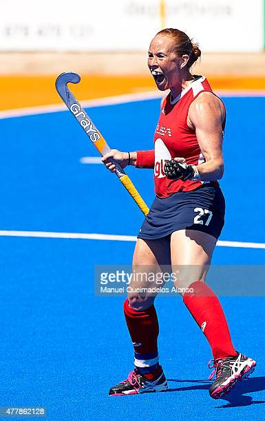 Lauren Crandall of United States celebrates after scoring during the match between United States and Ireland at Polideportivo Virgen del Carmen...