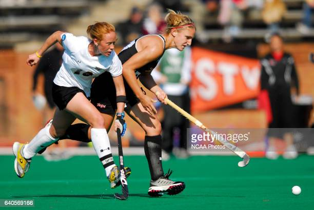 Lauren Crandall of Wake Forest University battle for the ball with Alexis Pappas of the University of Maryland during the Division I Women's Field...