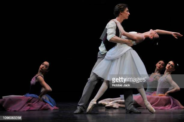 Lauren Cuthbertson and Vadim Muntagirov with artists of the company in Frederick Ashton's The Two Pigeons at The Royal Opera House on January 17 2019...