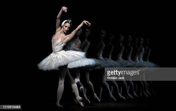 Lauren Cuthbertson as Odette/Odile and with artists of the company in The Royal Ballet's production of Lev Ivanov and Marius Petipa's Swan Lake with...