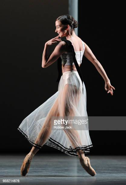 Lauren Cuthbertson in the Royal Ballet's production of Christopher Wheeldon's Corybantic Games at the Royal Opera House on March 15 2018 in London...