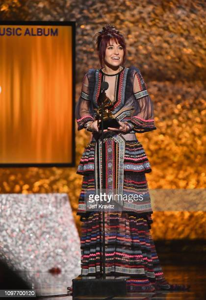 Lauren Daigle accepts award onstage at the premiere ceremony during the 61st Annual GRAMMY Awards at Microsoft Theater on February 10 2019 in Los...