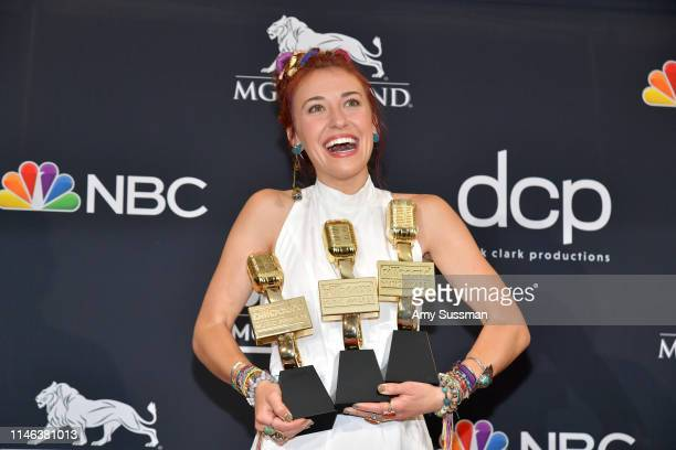 Lauren Daigle poses with awards for Best Christian Artist Top Christian Album for 'Look Up Child and Top Christian Song for 'You Say' in the press...