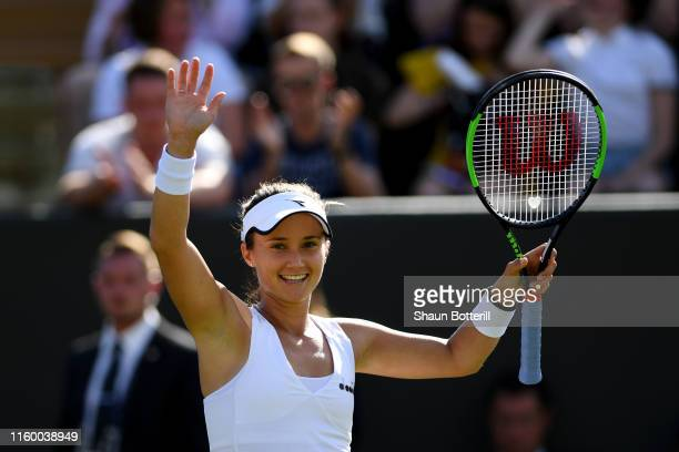 Lauren Davis of The United States celebrates victory in her Ladies' Singles second round match against Angelique Kerber of Germany during Day four of...