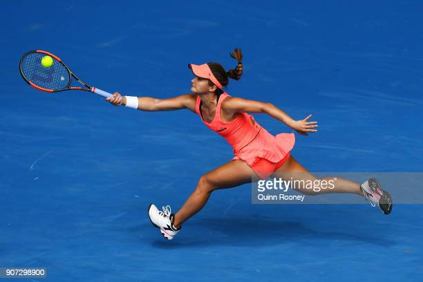 Lauren Davis of the United States plays a forehand in her third round match against Simona Halep of Romania on day six of the 2018 Australian Open at...