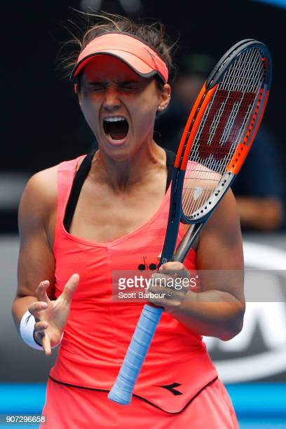 Lauren Davis of the United States reacts in her third round match against Simona Halep of Romania on day six of the 2018 Australian Open at Melbourne...