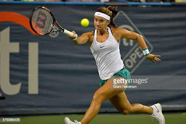 Lauren Davis of the United States returns a shot during her 62 63 win against Jessica Pegula of the United States in the semifinals of the Citi Open...
