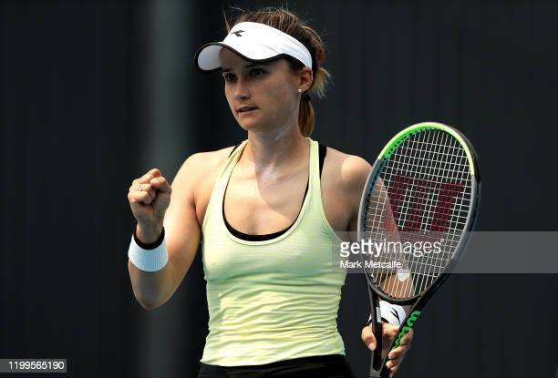 Lauren Davis of the Unites States celebrates winning match point during her second round singles match against Magda Linette of Poland during day...