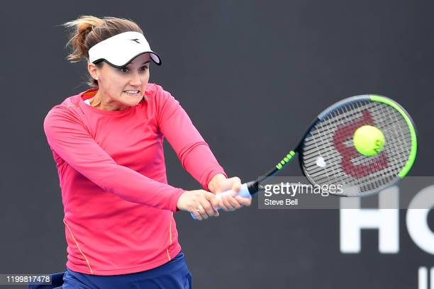 Lauren Davis of the Unites States plays a backhand shot during her quarter final singles match against Zhang Shuai of China on day six of the 2020...