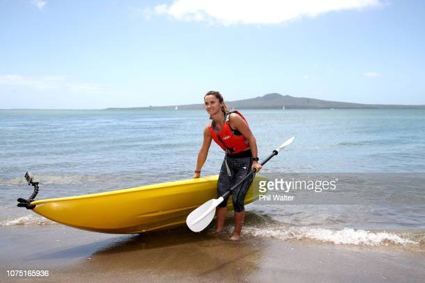 Lauren Davis of the USA kayaks at Mission Bay beach in Auckland ahead of the 2019 ASB Classic, on December 27, 2018 in Auckland, New Zealand.