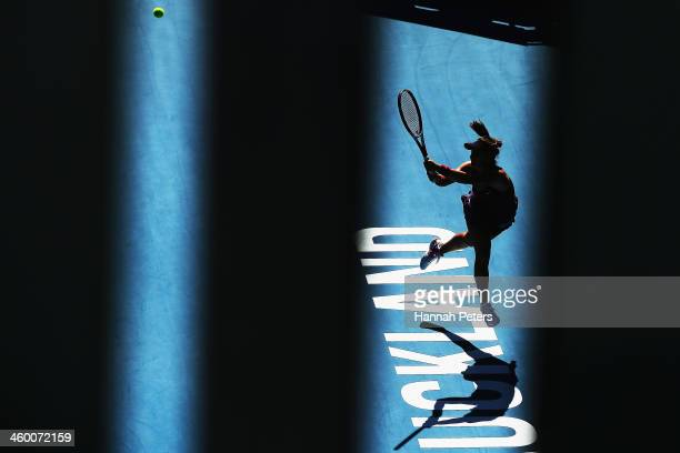 Lauren Davis of the USA plays a backhand during her quarterfinal match against Jamie Hampton of the USA on day four of the ASB Classic at the ASB...