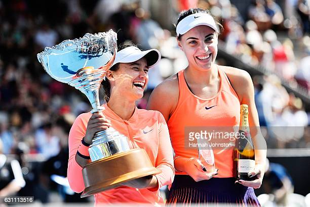 Lauren Davis of the USA poses for a photo after winning the womens singles final against Ana Konjuh of Croatia during day six of the ASB Classic on...