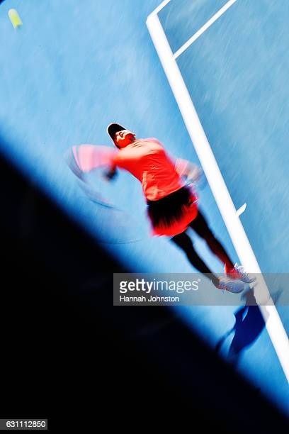 Lauren Davis of the USA serves during the womens singles final against Ana Konjuh of Croatia during day six of the ASB Classic on January 7, 2017 in...
